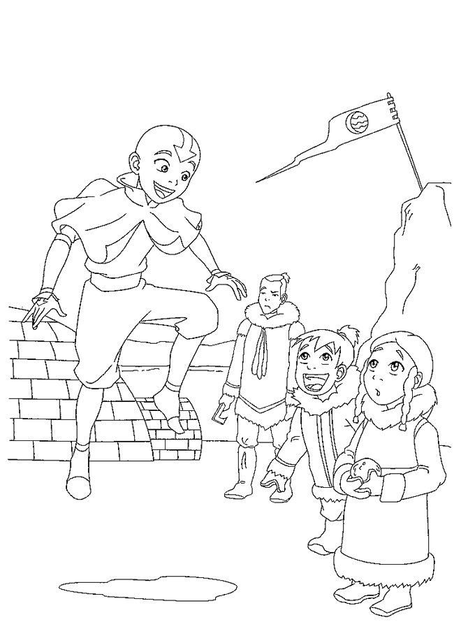 Aang is crazy coloring page