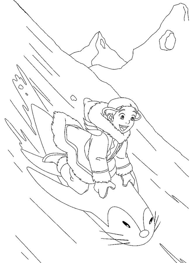 Aang and Unagi coloring page