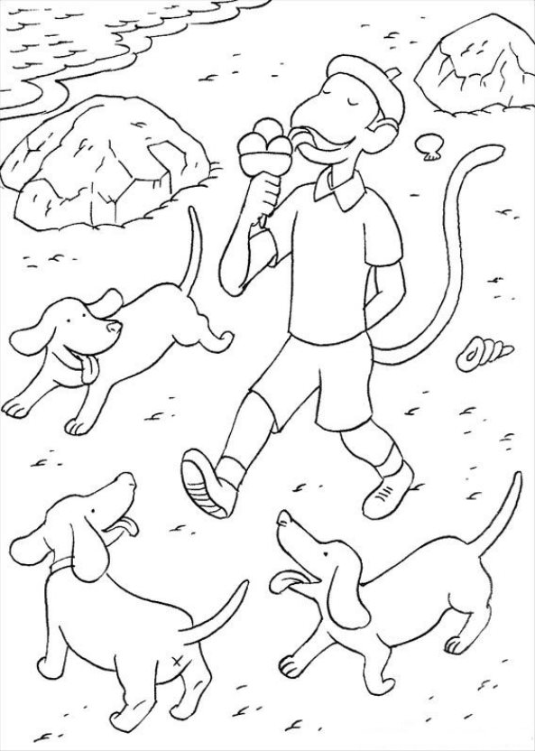 Monkey eating ice cream coloring page