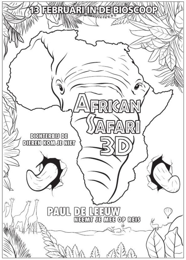 African Safari 3D coloring page