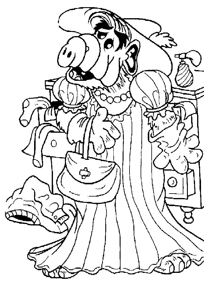Alf in een jurk kleurplaat