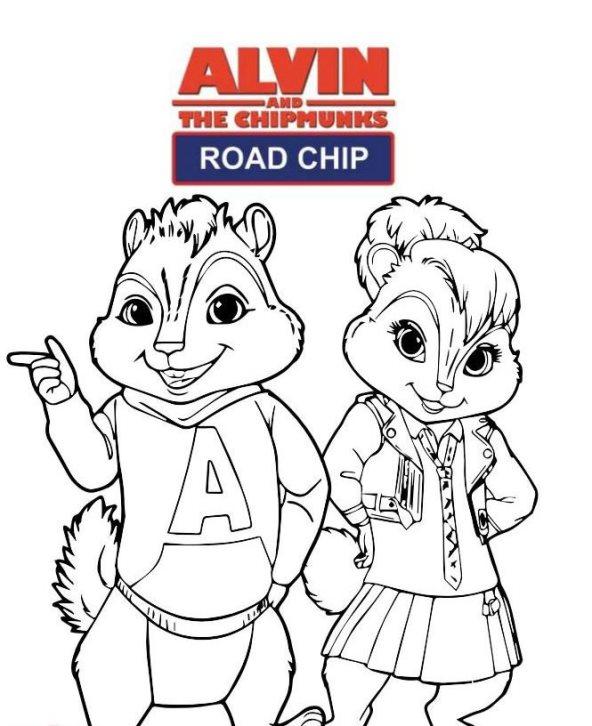 Alvin en de Chipmunks Road Chip (5) kleurplaat