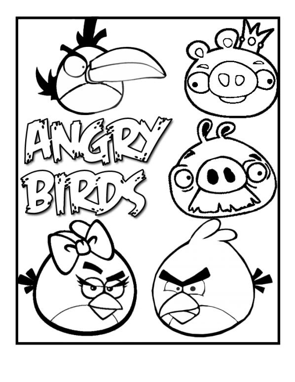 arg fåglar (1) målarbok
