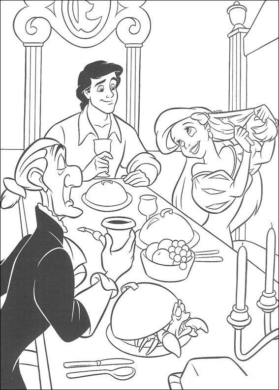 Ariel en haar tafelmanieren kleurplaat