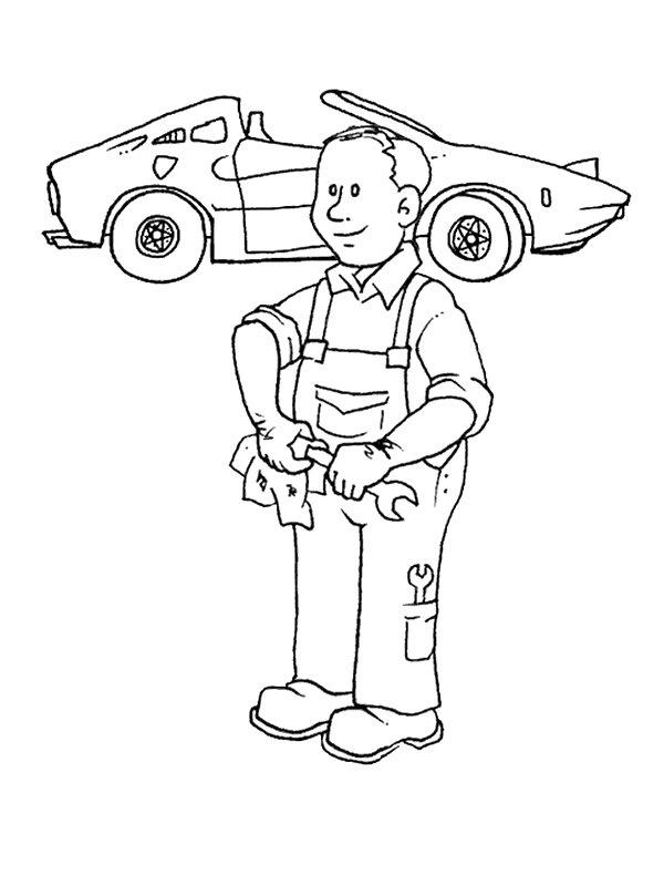 Automonteur kleurplaat