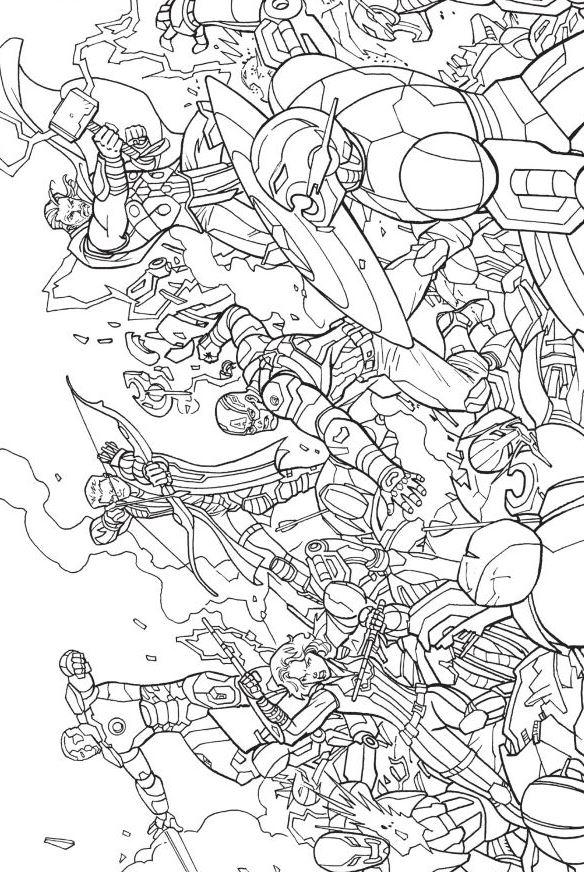 Раскраска Мстители объединяются