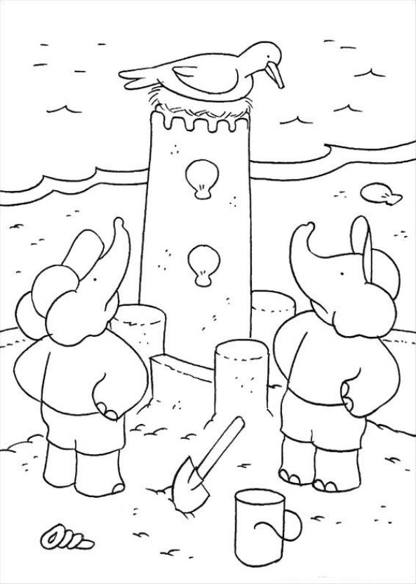 Babar makes sandcastle coloring page