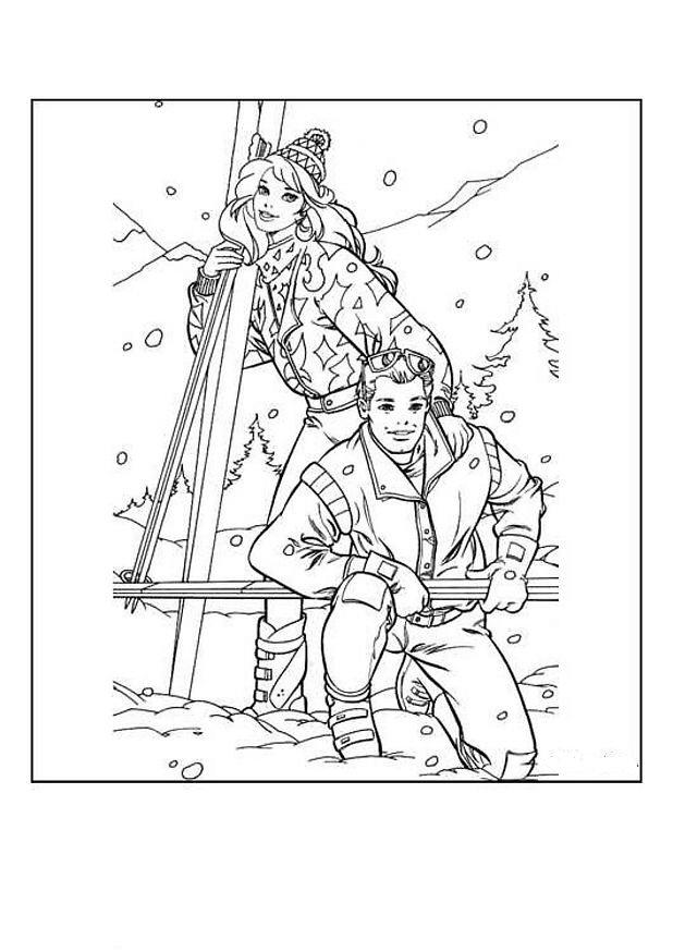 Babrie en Keny skiet kleurplaat