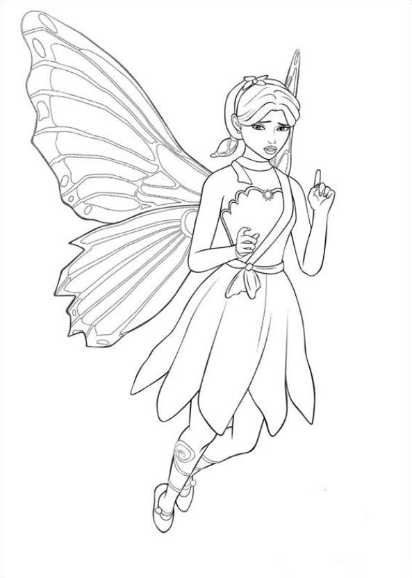 Barbi Mariposa (8) kleurplaat