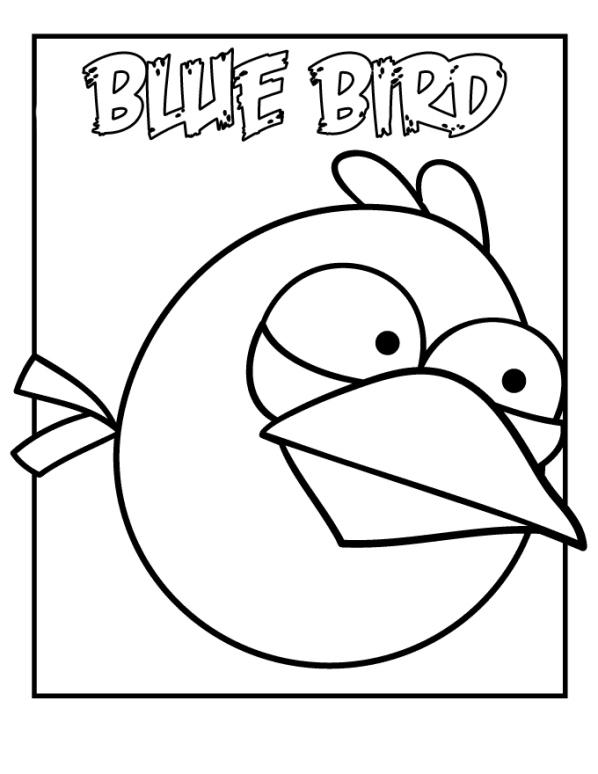 blå fågel målarbok