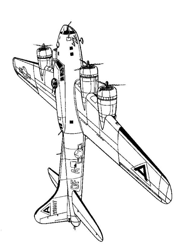 Boeing F17B Fortress 1942 coloring page