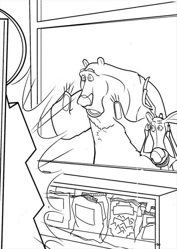 Arch and Elliot in the village coloring page