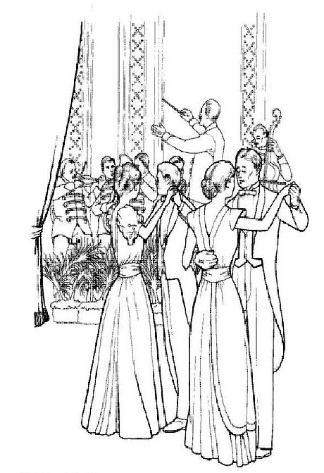 Dancing after dinner coloring page