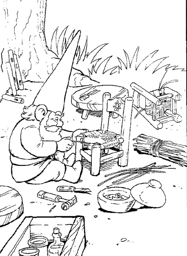 David repairs a chair coloring page