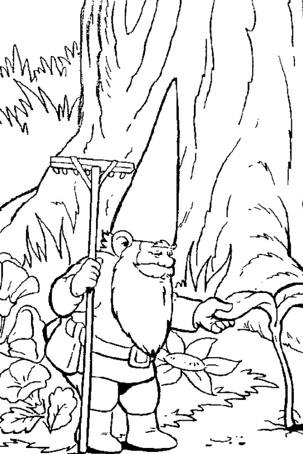 David is gardening coloring page