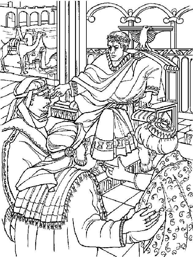 De drie koningen bij Herodus kleurplaat