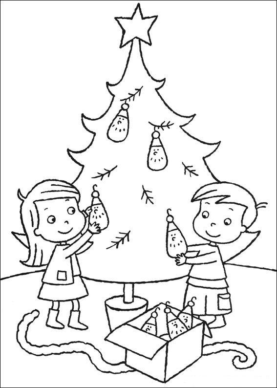 Kleurplaten Printen Kerstboom.De Kerstboom Versieren Kleurplaat Jouwkleurplaten