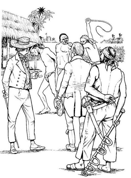 De slaven worden verhandeld kleurplaat