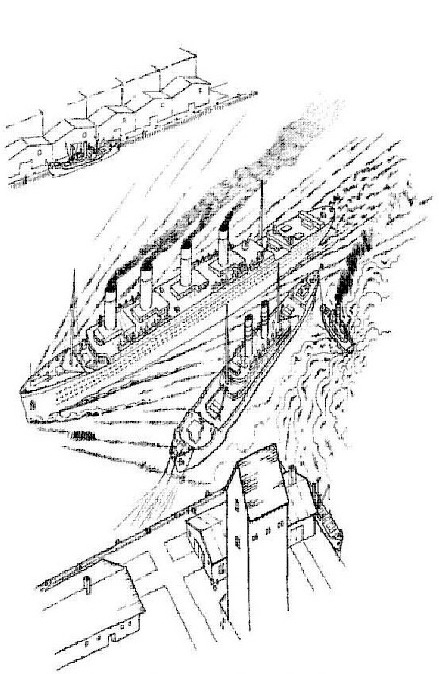The titanic leaves for her first journey coloring page