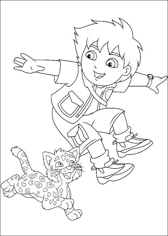 Diego En Baby Luipaard Kleurplaat Jouwkleurplaten