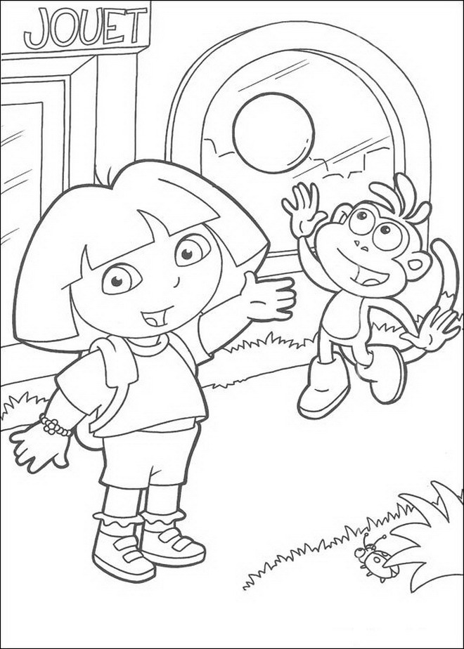 Dora and Boots (4) coloring page