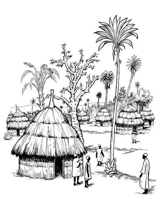 An African village at the beginning of the 19e century coloring page