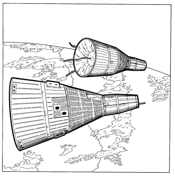 Gemini 6 and 7, linked in space, 1965 coloring page