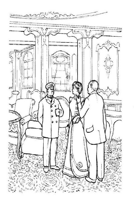 Conversation with the captain coloring page
