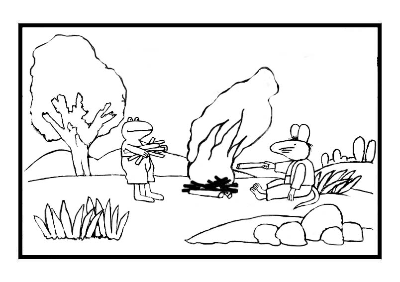 Frog by campfire coloring page