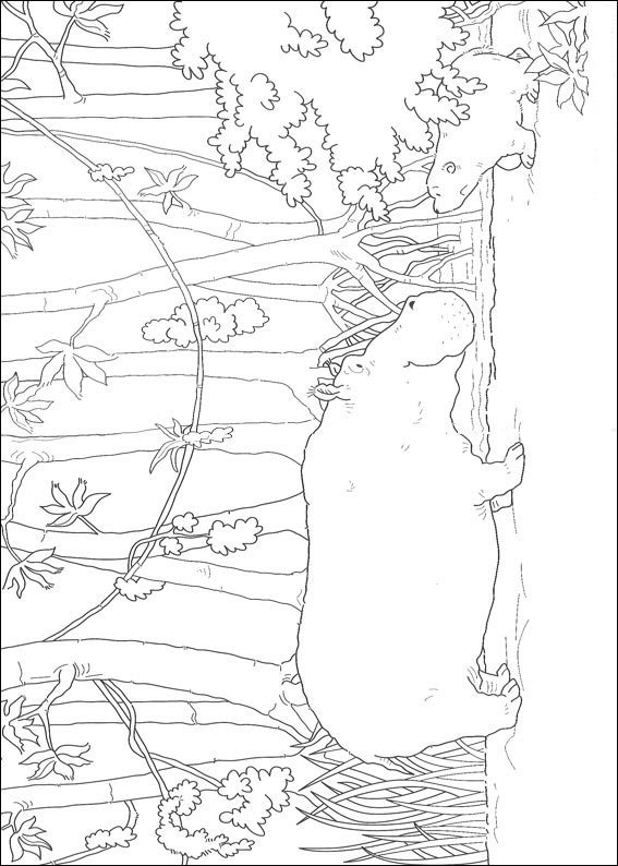 Small polar bear with hippo (2) coloring page