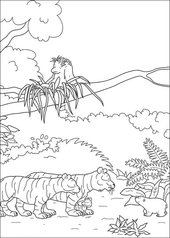 Small polar bear with tigers coloring page
