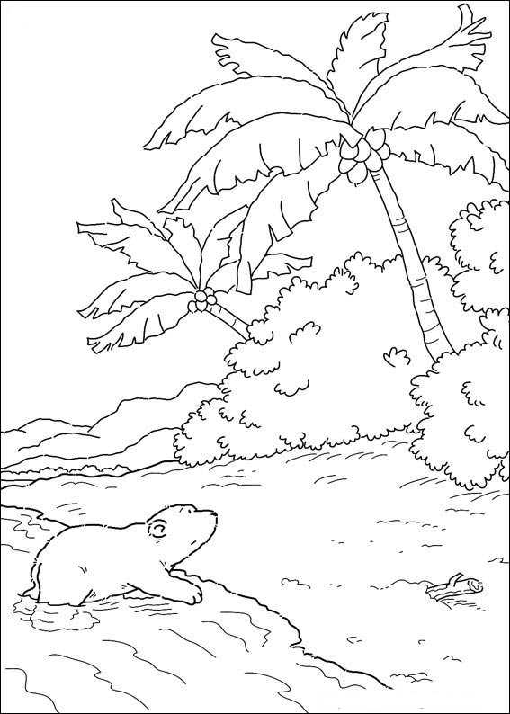 Small polar bear on beach coloring page
