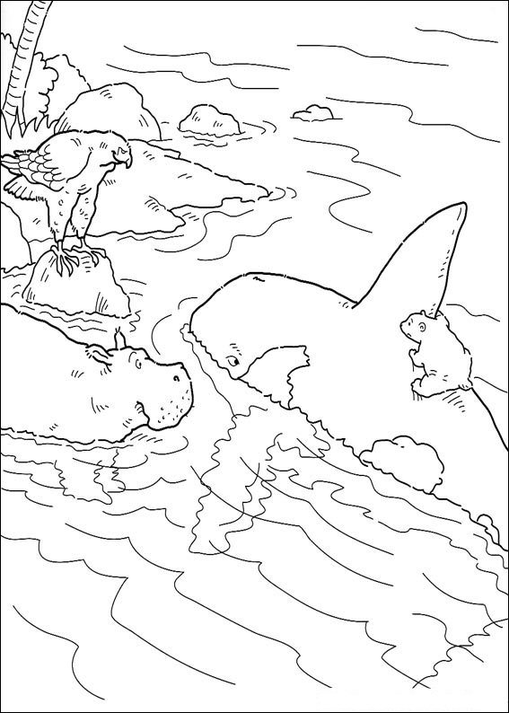 Little polar bear swims with orca coloring page