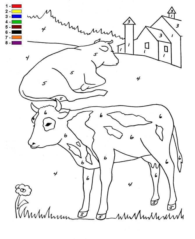 Kleur op nummer Boerderij (4) kleurplaat