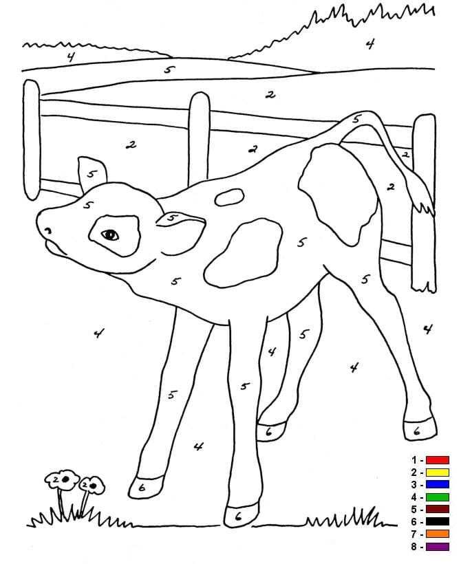 Kleur op nummer Boerderij (5) kleurplaat