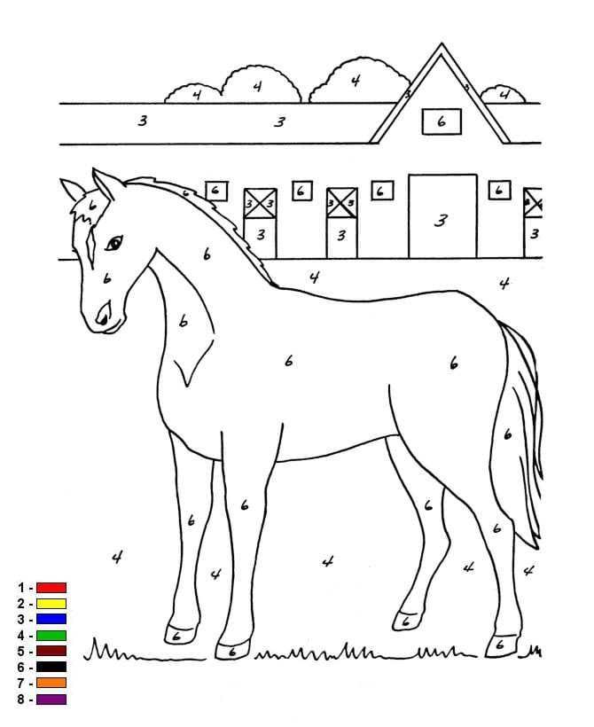 Kleur op nummer Boerderij (6) kleurplaat