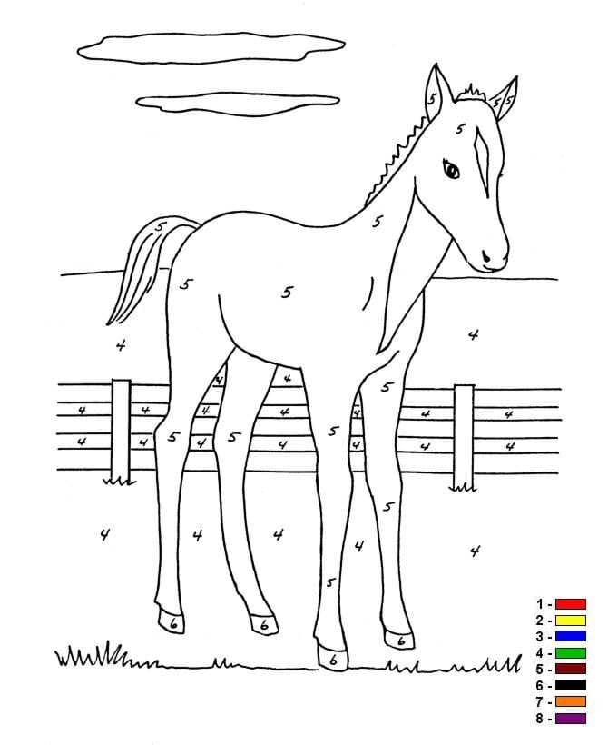 Kleur op nummer Boerderij (7) kleurplaat