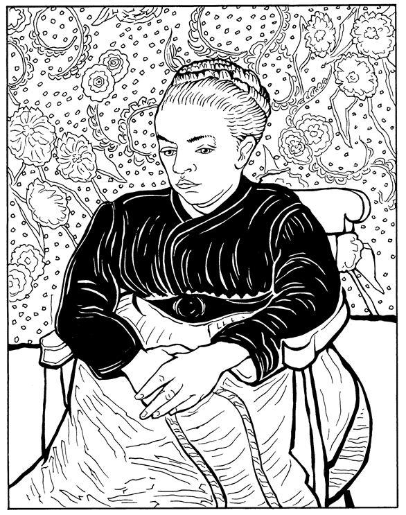 Coloriage La Berceuse Augustine Roulin 1889