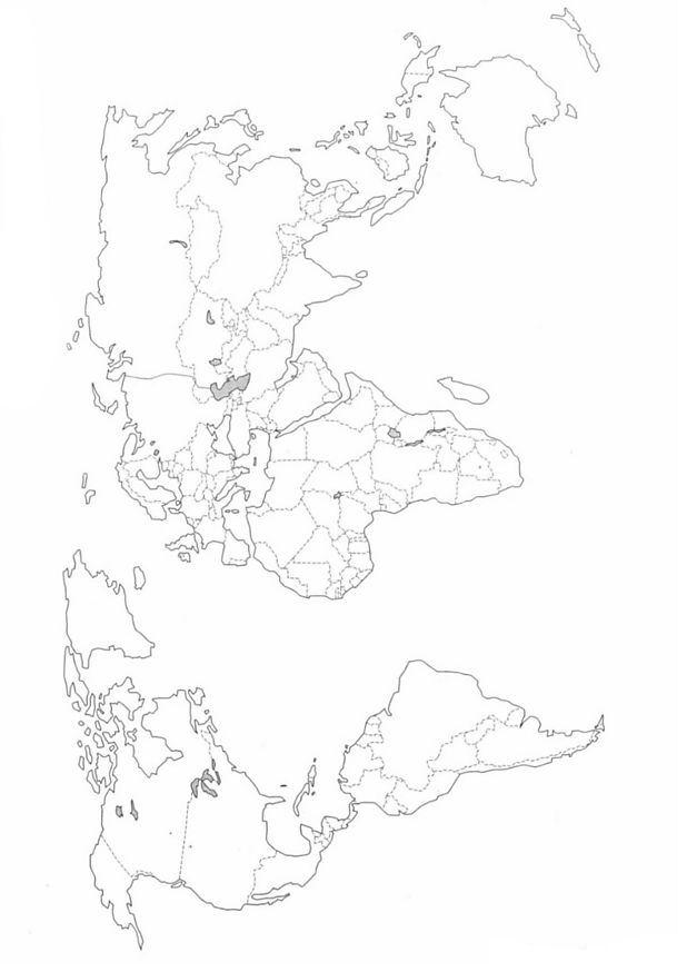 Pagina da colorare di mappa del mondo