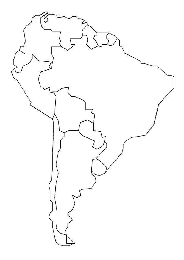 Νότια Αμερική χάρτη χρωματίζοντας σελίδα
