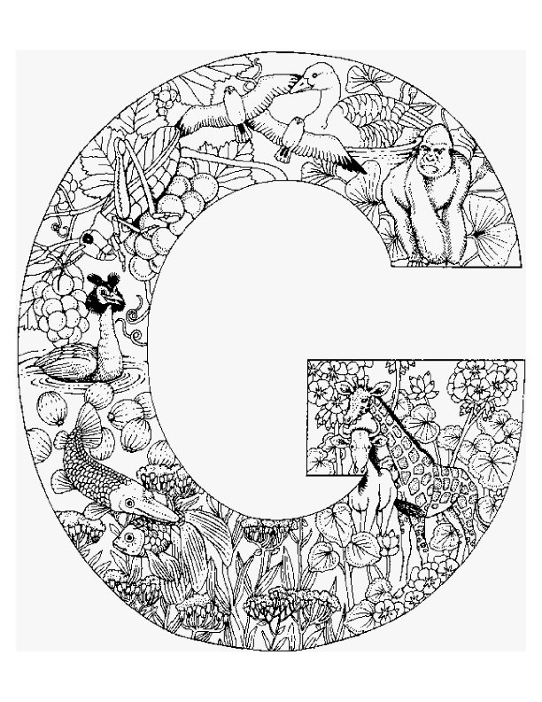Letter G kleurplaat