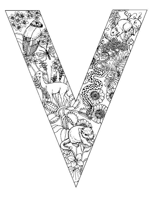 Letter V kleurplaat