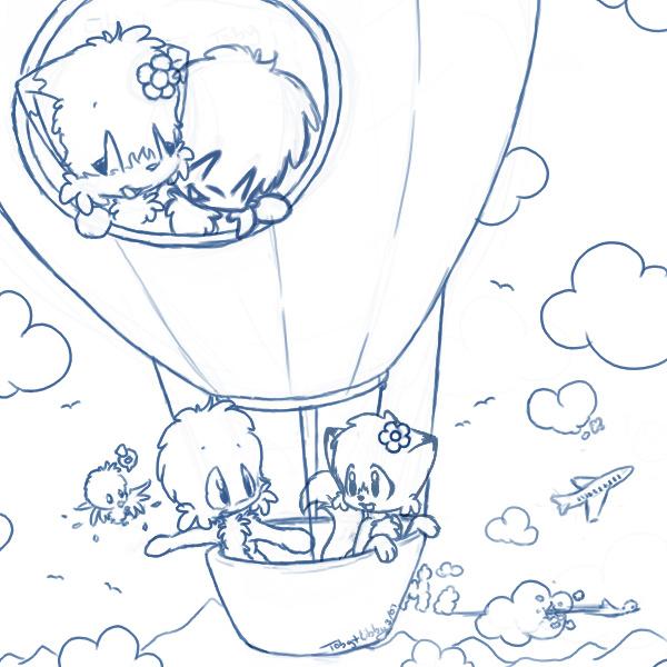 Luchtballonnen (1) kleurplaat