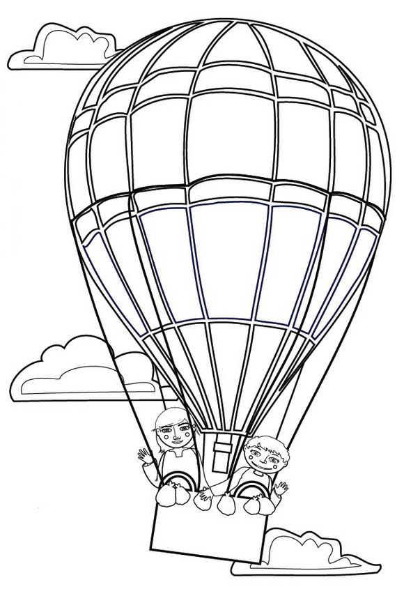Luchtballonnen kleurplaat