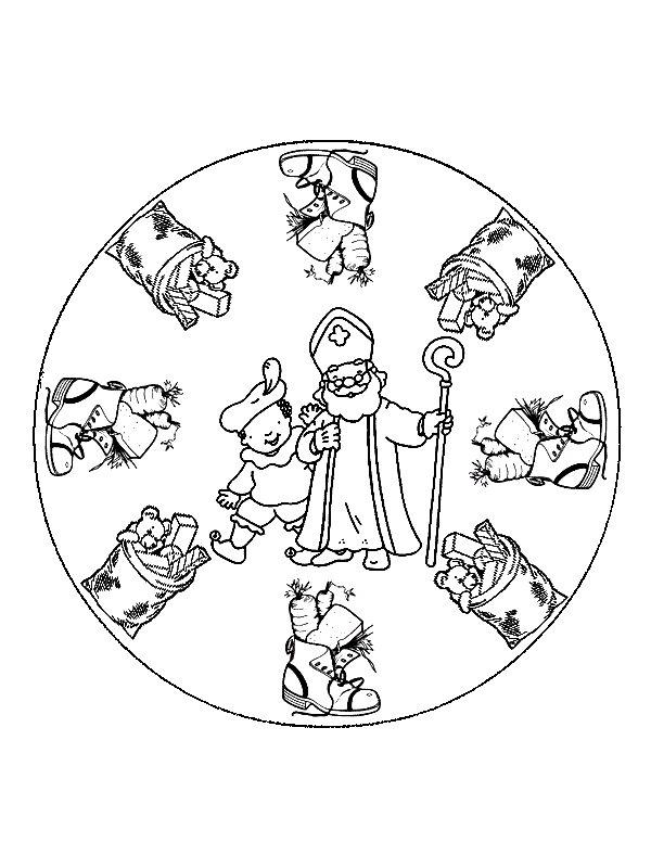 Mandala Sinterklaas (2) målarbok