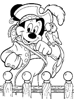 Mickey als piraat kleurplaat