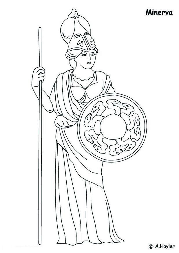 Minerva, godin van het verstand kleurplaat