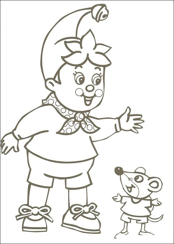 Pagina da colorare di Noddy e topo