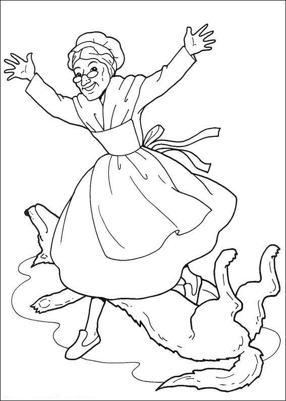 Oma Uit De Buik Van Wolf Kleurplaat Jouwkleurplaten