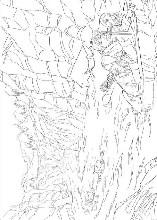 Escape at the waterfall coloring page